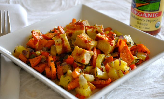 vegan roasted winter vegetable hash with grilled tofu