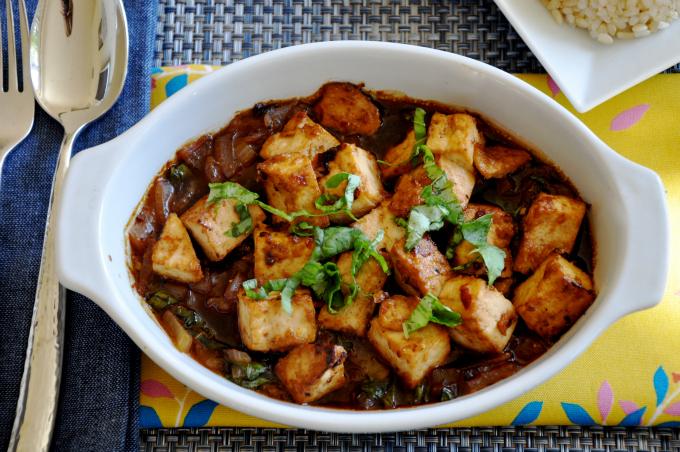 tofu basil with red onion glaze