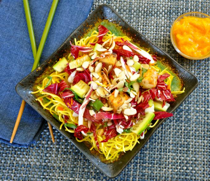 rice noodle salad tofu