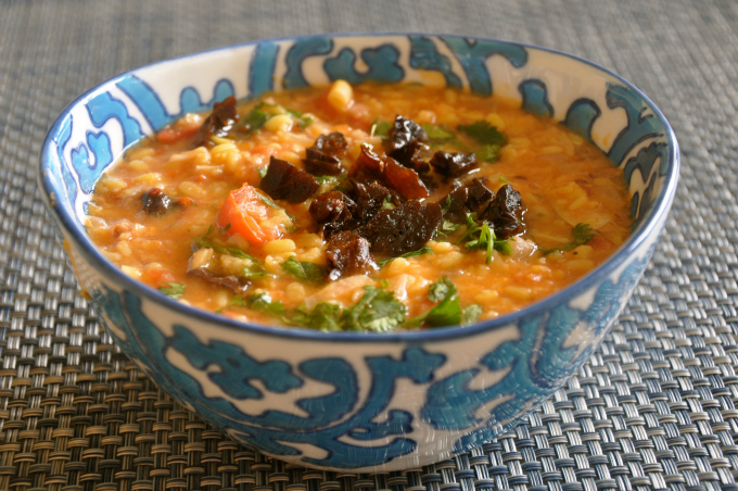 Yellow Lentil Soup with Dried Plums