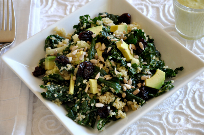 kale quinoa salad with green goddess dressing