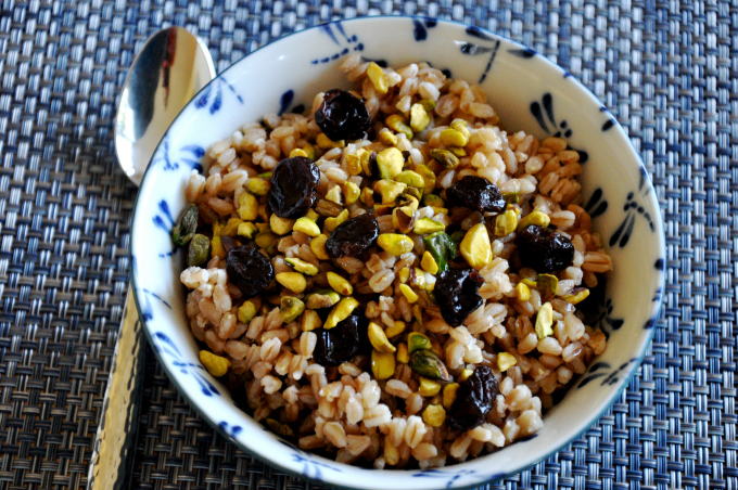 Breakfast Farro with Pistachios and Dried Cherries