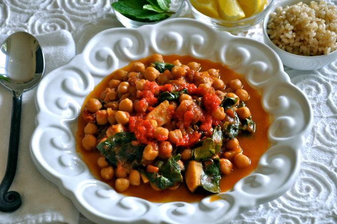 Meditteranean Chickpea, Sweet Potato and Spinach Stew