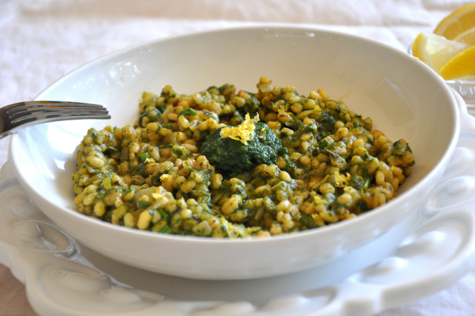barley risotto with spinach sauce