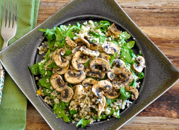 Mushroom, Quinoa & Arugula Salad with Champagne Chive Vinaigrette
