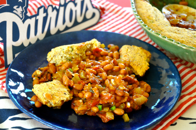 Boston Baked Bean Casserole with Jalapeno Corn Bread