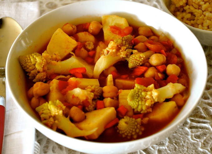 One pot chickpea stew with cauliflower and sweet potatoes