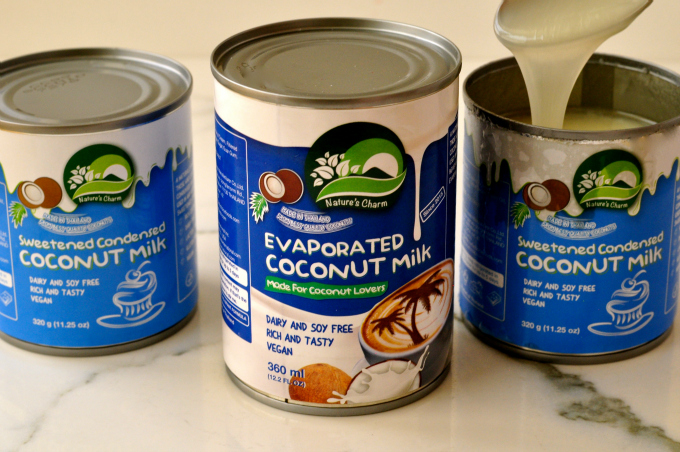 Nature's Charm sweetened condensed and evaporated vegan coconut milk.
