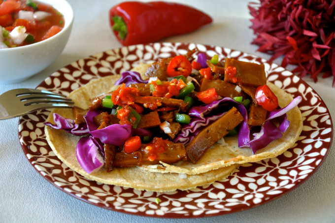 Tacos with Marinated Seitan, Chiles & Crunchy Cabbage