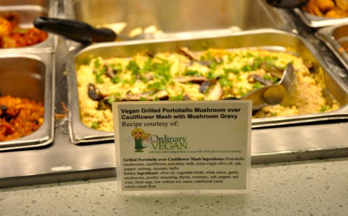 Grilled portobello mushroom over cauliflower mash with vegan gravy available at whole foods glendale. (#vegan) ordinaryvegan.net