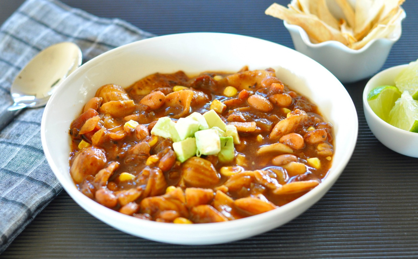 The ancho chile sauce is the flavor bomb that sets this soup apart from your everyday pinto bean pasta soup. It adds a deep color and flavor and just a tiny bit of warming heat. The perfect soup to keep you toasty warm on a cold winter day. (#vegan) ordinaryvegan.net