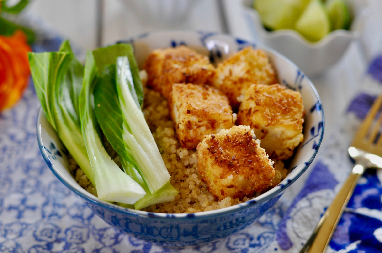 Easy Baked Tofu with Gluten-Free Coconut Panko Breadcrumb Crust