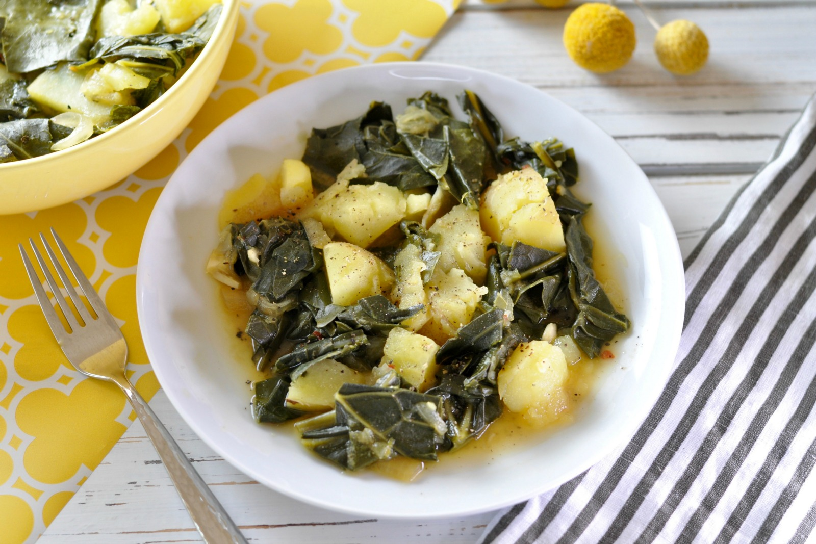 Long, slow, simmering makes these vegan collard greens and potatoes an ideal choice for healthy vegan comfort food. The nutritional yeast adds a deep rich cheesy flavor. (#vegan) ordinaryvegan.net