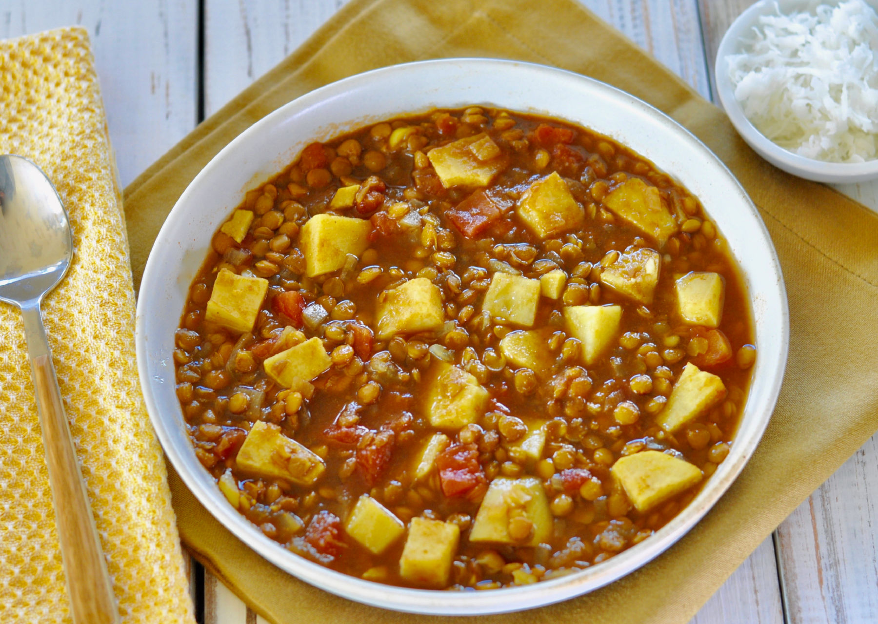 Indian Lentil Soup with Sweet Potatoes, Turmeric & Ginger