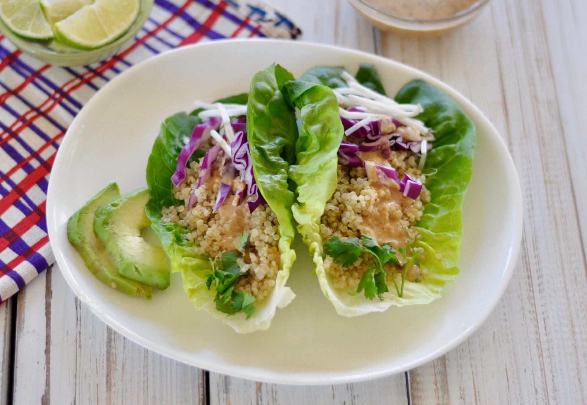 These delicious vegan lettuce wraps are an easy high-protein recipe. Topped with a healthy peanut sauce that can be enjoyed on just about anything! (#vegan) ordinaryvegan.net