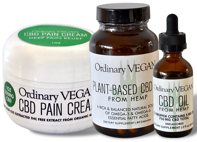 vegan, all natural CBD oil from Hemp from Ordinary Vegan (Ordinaryvegan.net)
